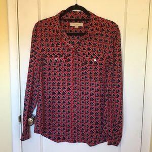 Loft button down Red blouse